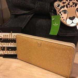 NWT Kate Spade Sparkle Neda Full Zip Wallet